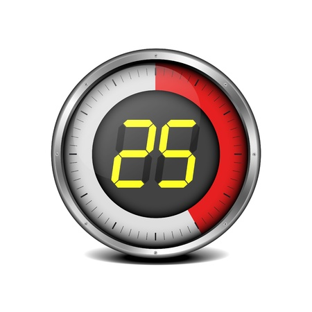 illustration of a metal framed timer with the number 25 Vector