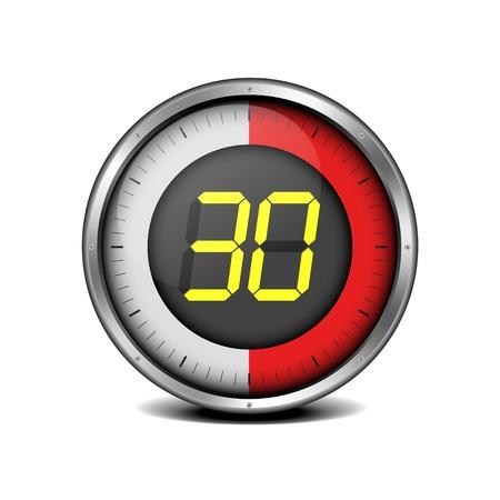 metering: illustration of a metal framed timer with the number 30 Illustration