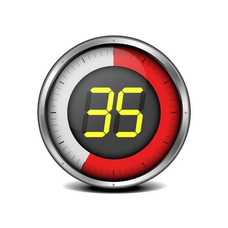 chronometer: illustration of a metal framed timer with the number 35
