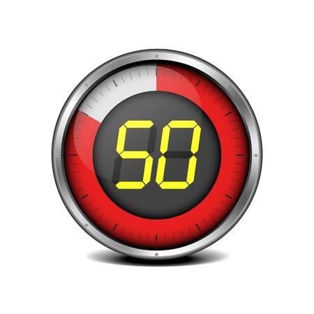 number 50: Ilustraci�n de un temporizador de metal enmarcado con el n�mero 50