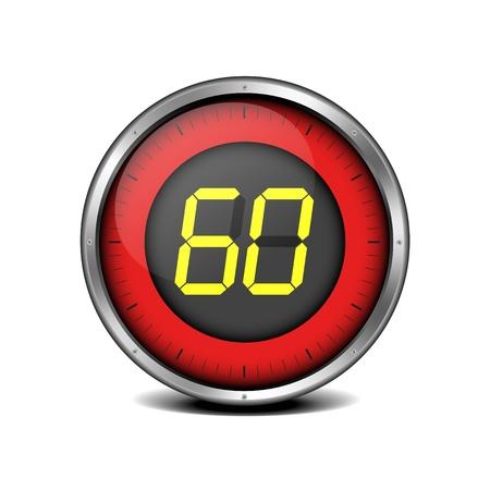 illustration of a metal framed timer with the number 60 Ilustrace