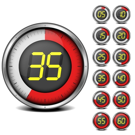 digital clock: illustration of a set of metal framed timers with easy changeable numbers