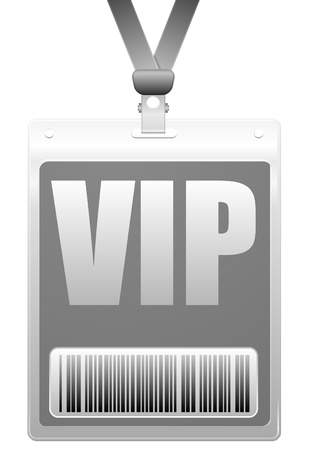 vip badge: detailed illustration of a VIP badge with barcode Illustration