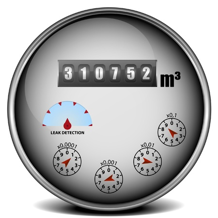 meter: illustration of a metal framed watermeter with metric units Illustration