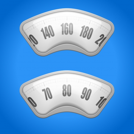 analog weight scale: detailed illustration of weighing scales on a blue background Illustration