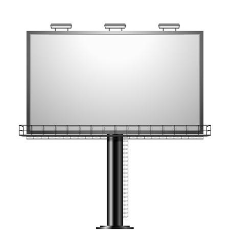 白で隔離される黒の広告看板の詳細なイラスト
