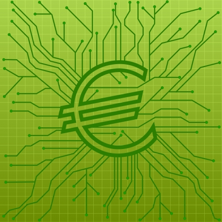 illustration of a green circuit board with an euro sign, symbol for internet business Stock Vector - 20235181