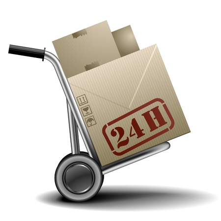 paper container: detailed illustration of a handtruck or trolley with cardboxes with 24h delivery label on them Illustration