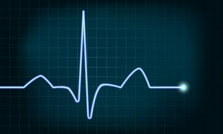 detailed illustration of of a heartbeat curve background, gradient mesh included Vector