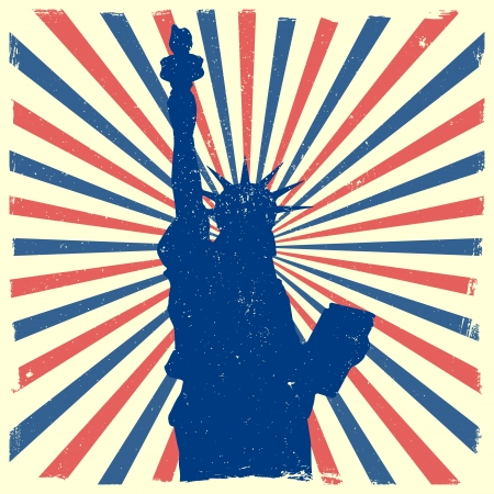 patriots: detailed illustration of the Statue of Liberty in front of a grungy burst backbround