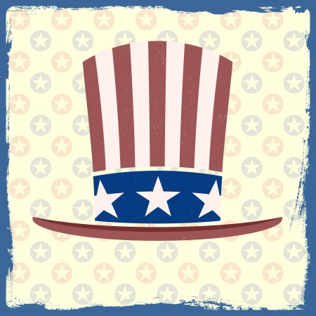 detailed illustration of an american flag retro themed hat on a grungy background Stock Vector - 20235206