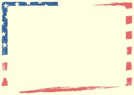 グランジ テクスチャとホワイト スペースとアメリカの国旗の詳細な背景イラスト  イラスト・ベクター素材