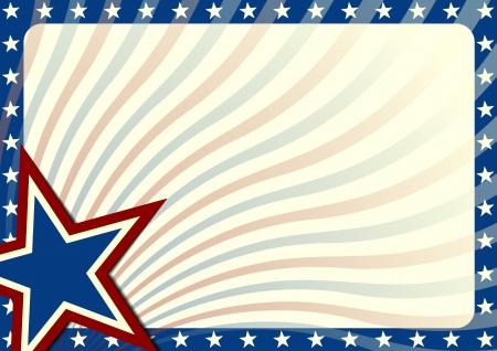 estrellas: detallada ilustraci�n de fondo con estrellas de fronteras y elementos bandera americana