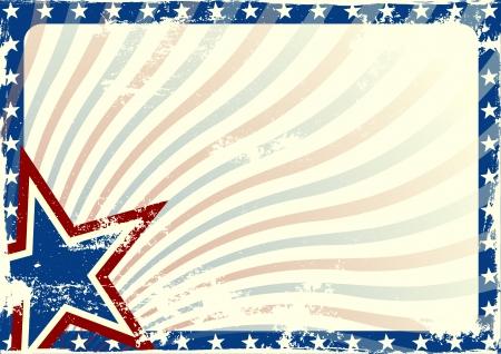 グランジ テクスチャとホワイト スペースと星とストライプの背景の詳細なイラスト