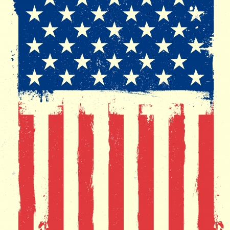 detailed illustration of a patriotic american flag on a grungy background Vector