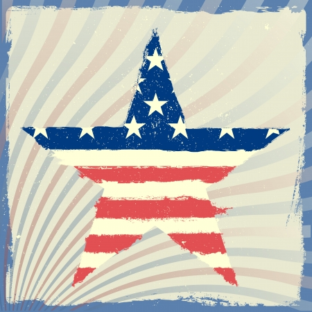 detailed illustration of a patriotic star with american flag on a grungy background Stock Vector - 20235209