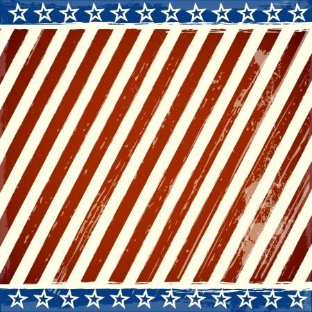 グランジ要素を持つ愛国の星とストライプのバック グラウンドの詳細なイラスト