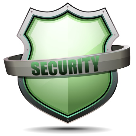 safe guard: detailed illustration of a coat of arms with security writing Illustration