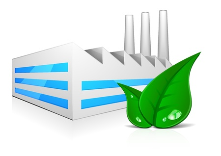 detailed illustration of modern factory building with three chimneys and green leafs in front Vector