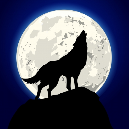 lobo: ilustración detallada de un lobo aullando frente a la luna
