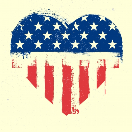 patriotic border: detailed illustration of a grungy heart with patriotic american flag