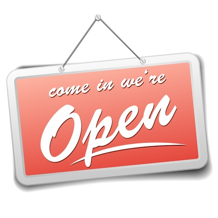 open the door: detailed illustration of a red shop sign with information welcoming visitors