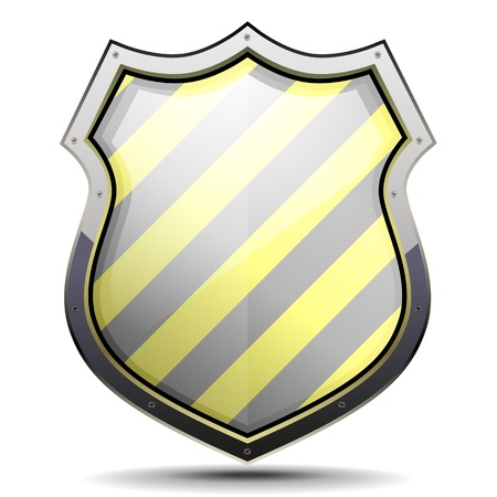 shiny shield: detailed illustration of a coat of arms with yellow and black stripes