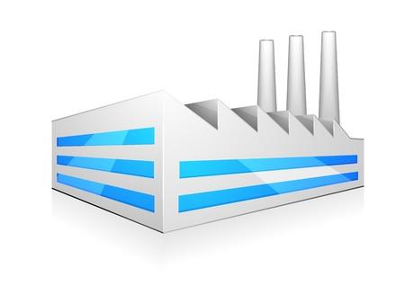 industria quimica: ilustraci�n detallada de la construcci�n de la moderna f�brica con tres chimeneas