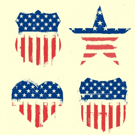 detailed illustration of different symbols with american flag and grunge elements Stock Illustration - 20619660