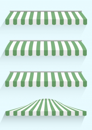 awning: detailed illustration of set of striped awnings