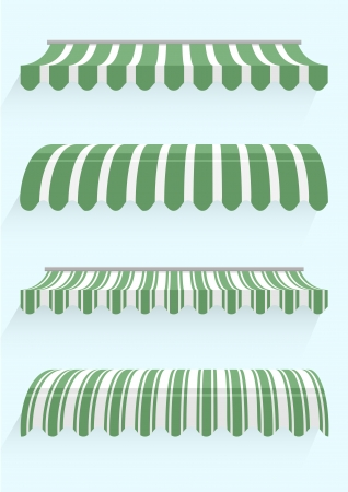 sunshades: detailed illustration of set of striped awnings