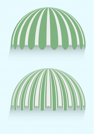 awnings: detailed illustration of round striped awnings