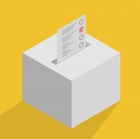minimalistic illustration of a white ballot box, symbol for voting and politics