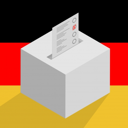 minimalistic illustration of a white ballot box on a german flag background, symbol for voting and politics Vector