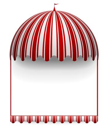 축하: 상단에 라운드 서커스 천막 카니발 프레임의 자세한 그림 일러스트