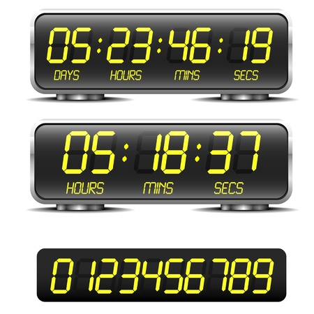 detailed illustration of a digital countdown timer with LED-Digits Vector