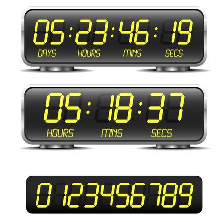 gedetailleerde illustratie van een digitale countdown timer met LED-cijfers Vector Illustratie