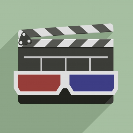 directors cut: minimalistic illustration of a clapper board with 3D glasses on top, symbol for film and video