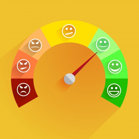 クライアント: スマイリーと顧客満足度メーターの詳細なイラスト