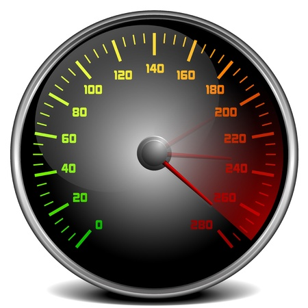 mph: illustration of a speedometer gauge Illustration