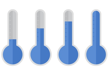 growth hot: illustration of blue thermometers with different levels, flat style Illustration