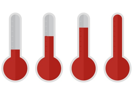 illustration of red thermometers with different levels, flat style Stock Vector - 21593615