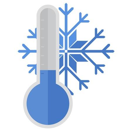 눈송이와 온도계의 그림 일러스트