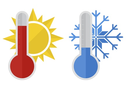 coldness: illustration of thermometers with snowflake and sun, flat style