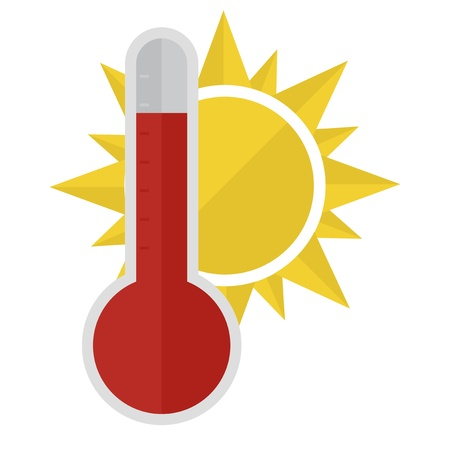 rising temperature: illustration of a thermometer with a sun