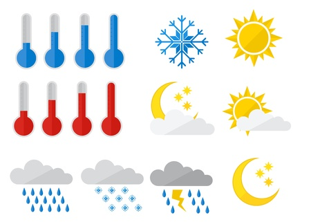 coldness: set of weather icons, flat style illustration Illustration