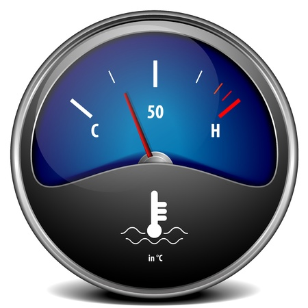 temperature: illustration of a motor temperature gauge, eps 10 vector Stock Photo