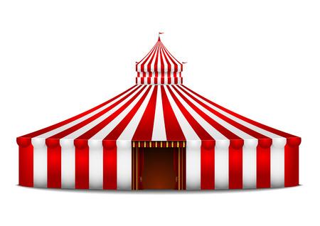 circense: ilustraci�n detallada de una carpa de circo roja y blanca