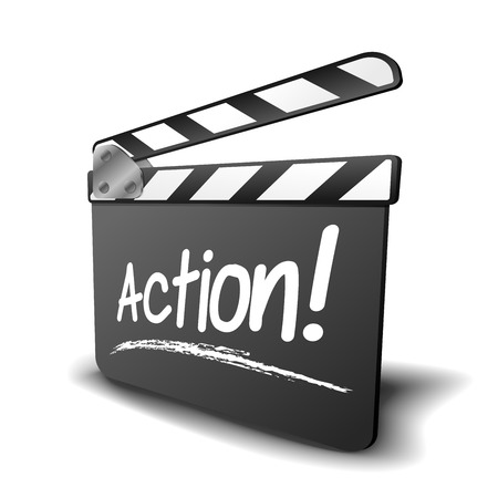 film title: detailed illustration of a clapper board with action term, symbol for film and video Illustration