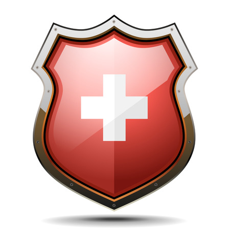 detailed illustration of a coat of arms with swiss cross symbol Vector